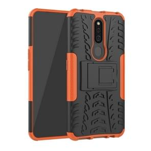 Shockproof  PC + TPU Tire Pattern Case for OPPO F11 Pro, with Holder (Orange)