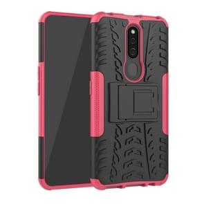 Shockproof  PC + TPU Tire Pattern Case for OPPO F11 Pro, with Holder (Pink)