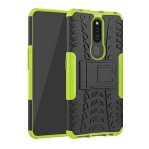 Shockproof  PC + TPU Tire Pattern Case for OPPO F11 Pro, with Holder (Green)