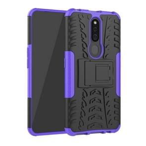 Shockproof  PC + TPU Tire Pattern Case for OPPO F11 Pro, with Holder (Purple)