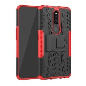 Shockproof  PC + TPU Tire Pattern Case for OPPO F11 Pro, with Holder (Red)