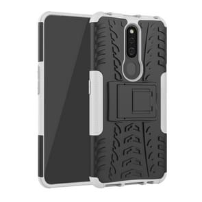 Shockproof  PC + TPU Tire Pattern Case for OPPO F11 Pro, with Holder (White)