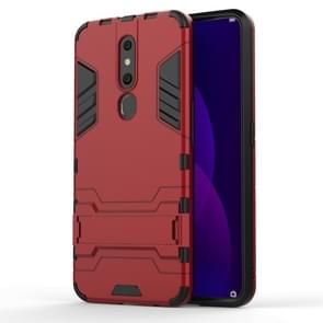 Shockproof PC + TPU Case for OPPO F11 Pro, with Holder(Red)
