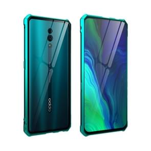 Buckle Series Metal Frame + Tempered Glass Protective Case for Oppo Reno(Green)