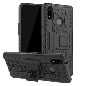 Shockproof  PC + TPU Tire Pattern Case for OPPO Realme 3 Pro, with Holder (Black)