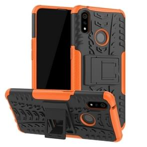 Shockproof  PC + TPU Tire Pattern Case for OPPO Realme 3 Pro, with Holder (Orange)