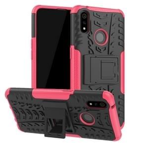 Shockproof  PC + TPU Tire Pattern Case for OPPO Realme 3 Pro, with Holder (Pink)
