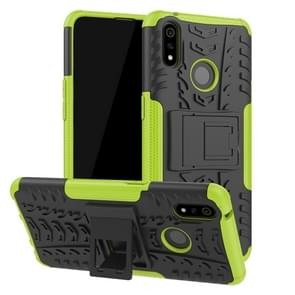 Shockproof  PC + TPU Tire Pattern Case for OPPO Realme 3 Pro, with Holder (Green)