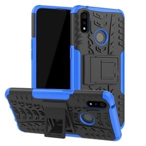 Shockproof  PC + TPU Tire Pattern Case for OPPO Realme 3 Pro, with Holder (Blue)
