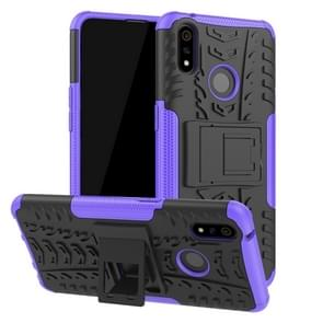Shockproof  PC + TPU Tire Pattern Case for OPPO Realme 3 Pro, with Holder (Purple)