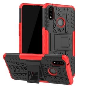 Shockproof  PC + TPU Tire Pattern Case for OPPO Realme 3 Pro, with Holder (Red)