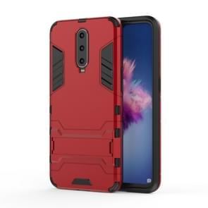 Shockproof PC + TPU  Case for OPPO R17 Pro, with Holder (Red)