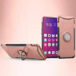 Magnetic 360 Degree Rotation Ring Holder Armor Protective Case for OPPO Find X (Rose Gold)