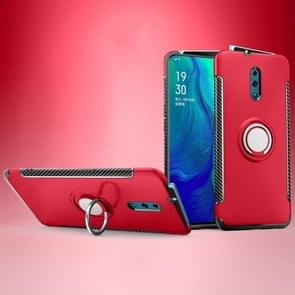 Magnetic 360 Degree Rotation Ring Holder Armor Protective Case for OPPO Reno (Red)