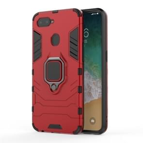 PC + TPU Shockproof Protective Case for OPPO F9, with Magnetic Ring Holder (Red)