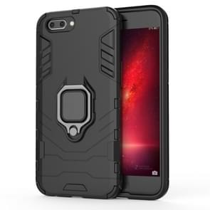 PC + TPU Shockproof Protective Case for OPPO R11, with Magnetic Ring Holder (Black)