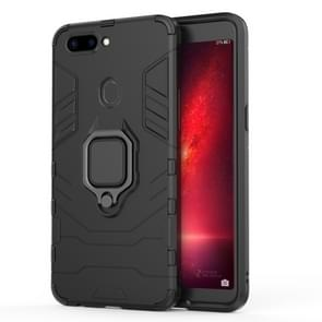 PC + TPU Shockproof Protective Case for OPPO R11s, with Magnetic Ring Holder (Black)