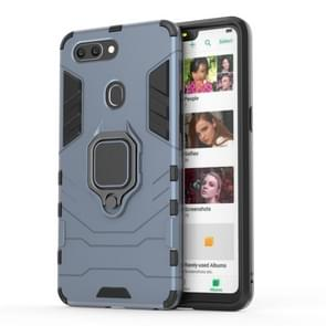 PC + TPU Shockproof Protective Case for OPPO R15, with Magnetic Ring Holder (Grey)