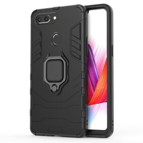 PC + TPU Shockproof Protective Case for OPPO R15 Pro, with Magnetic Ring Holder (Black)
