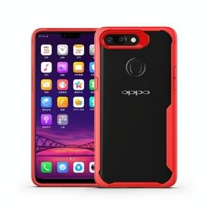 Transparent PC + TPU Full Coverage Shockproof Protective Case for OPPO R15 (Red)