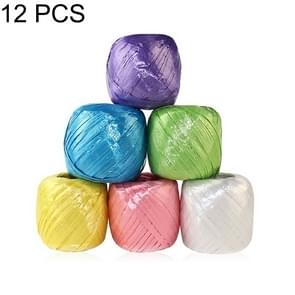 12 PCS Plastic Strapping Packing Rope Tear Film Straw Rope, Random Color Delivery