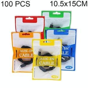 100 PCS MX004 Data Cable Packaging Bag Earphone Wire Electronic Digital Accessories Zipper Bag 3C Accessories Packaging Bag, Size: 10.5cm x 15cm, Random Color Delivery
