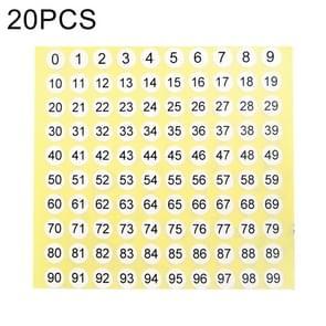20 stuks ronde vorm nummer Sticker schoen groottelabel  nummer 0-99