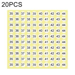 20 stuks ronde vorm nummer Sticker schoen groottelabel  nummer 35-44