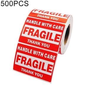 500 stuks zelfklevende buitenste vak Engels waarschuwing Sticker fragiele Label  maat: 76x51mm