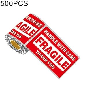 500 PCS Self-adhesive Outer Box English Warning Sticker Fragile Label, Size: 76x127mm