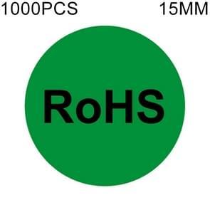 1000 stuks ronde vorm zelfklevende RoHS Sticker RoHS Label  Diameter: 15mm