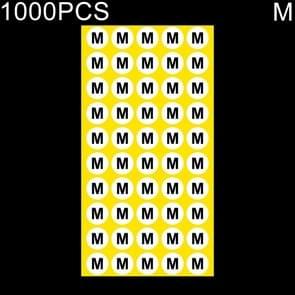 1000 stuks ronde vorm grootte Sticker kleren groottelabel  maat: M