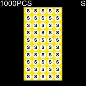 1000 stuks ronde vorm grootte Sticker kleren groottelabel  maat: S