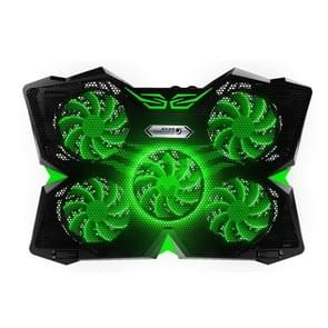 Ice Troll 2S COOLCOLD DC 9V Dual USB Five Fans Cooler Stand Radiator Cooling Pad for 12-17 inch Gaming Laptop Notebook(Black + Green)