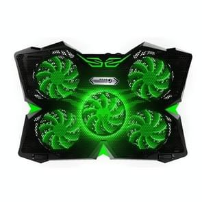 Ice Troll 2S COOLCOLD DC 5V Dual USB Five Fans Cooler Air-cooled Radiator Cooling Pad for 12-17 inch Gaming Laptop Notebook(Black + Green)