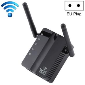 300Mbps Wireless-N Range Extender WiFi Repeater Signal Booster Network Router with 2 External Antenna, EU Plug(Black)