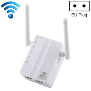 300Mbps Wireless-N Range Extender WiFi Repeater Signal Booster Network Router with 2 External Antenna, EU Plug(White)