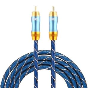 EMK 8mm RCA Male to 6mm RCA Male Gold-plated Plug Grid Nylon Braided Audio Coaxial Cable for Speaker Amplifier Mixer, Length: 2m(Blue)