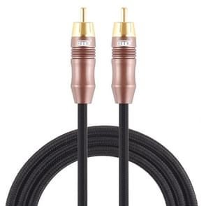 EMK 8mm RCA Male to 6mm RCA Male Gold-plated Plug Cotton Braided Audio Coaxial Cable for Speaker Amplifier Mixer, Length: 2m (Black)