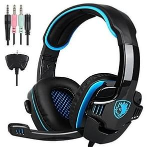 SADES SA-708GT 3.5mm Wired Adjustable Gaming Headphone with Retractable Microphone & Xbox-360 Adapter & 1 to 2 3.5mm Audio Cable, Length: 1.5m(Black Blue)