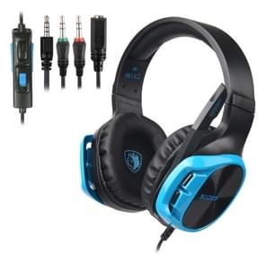 SADES R17 3.5mm Wired Adjustable Gaming Headphone with Retractable Microphone & 1 to 2 3.5mm Audio Cable, Speaker Diameter: 50mm, Impedance: 32ohms, Length: 1.5m(Black Blue)