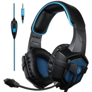 SADES SA807 3.5mm Three-stage Decompression Wired Gaming Headphone with Retractable Microphone, Speaker Diameter: 40mm, Length: 1.5m(Black Blue)