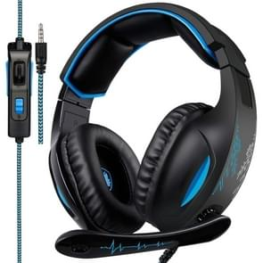 SADES SA-816 3.5mm Wired Adjustable Gaming Headphone with Retractable Microphone & 1 to 2 3.5mm Audio Cable, Speaker Diameter: 40mm, Impedance: 32ohms, Length: 1.5m(Black Blue)