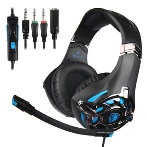 SADES SA-822 3.5mm Wired Hollow Appearance Adjustable Gaming Headphone with Retractable Microphone & 1 to 2 3.5mm Audio Cable, Length: 1.5m