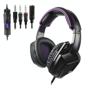 SADES SA-920 3.5mm Wired Hollow Three-stage Decompression Gaming Headphone with Retractable Microphone & 1 to 2 3.5mm Audio Cable, Length: 1.5m(Black purple)
