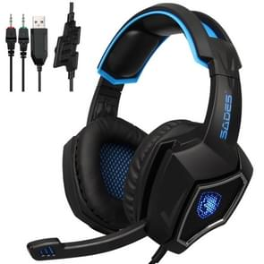 SADEs WOLF geest 3 5 USB Wired verstelbare gaming hoofdtelefoon met ademhaling licht & verborgen microfoon & 1 tot 2 3 5 mm audio kabel  lengte: 2m (zwart blauw)
