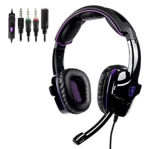 SADES LETTON L8 3.5mm Wired Adjustable Gaming Headphone with Hidden Microphone & 1 to 2 3.5mm Audio Cable, Length: 1.5m (Black purple)