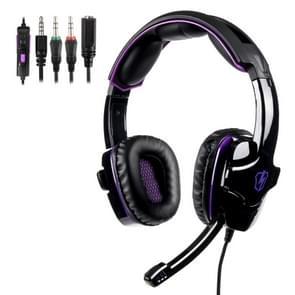 SADEs LETTON L8 3 5 mm Wired verstelbare gaming hoofdtelefoon met verborgen microfoon & 1 tot 2 3 5 mm audio kabel  lengte: 1 5 m (zwart paars)