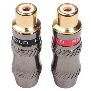 REXLIS TR026-1 2 stuks RCA Female plug audio jack vergulde adapter voor DIY audiokabel & video kabel