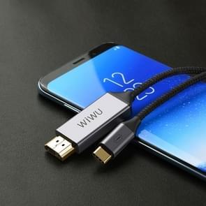WIWU X9 USB-C/type-C naar HDMI male coaxkabel adapter, lengte: 1.8 m